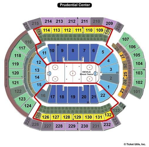 Tickets para los New Jersey Devils - Plano del Prudential Center
