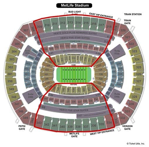 Tickets para los New York Giants - Plano del MetLife Stadium