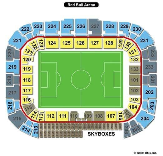 Tickets para los New York Red Bulls - plano del Red Bull Arena