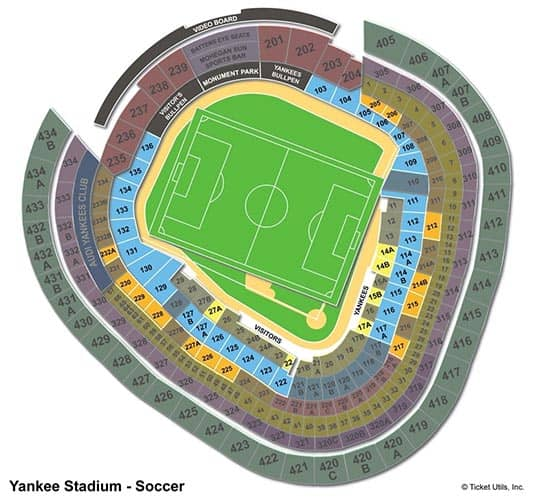 Tickets para el New York City FC - Plano del Yankee Stadium