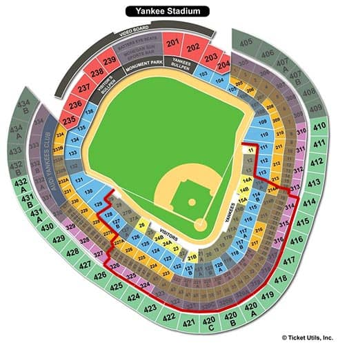 Tickets para los New York Yankees - plano del Yankee Stadium