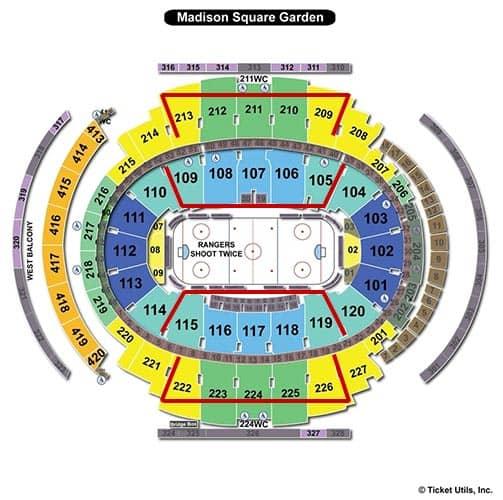 Tickets para los New York Rangers - Plano del Madison Square Garden