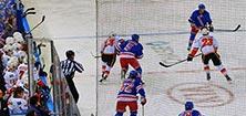 Partido de hockey de los Rangers